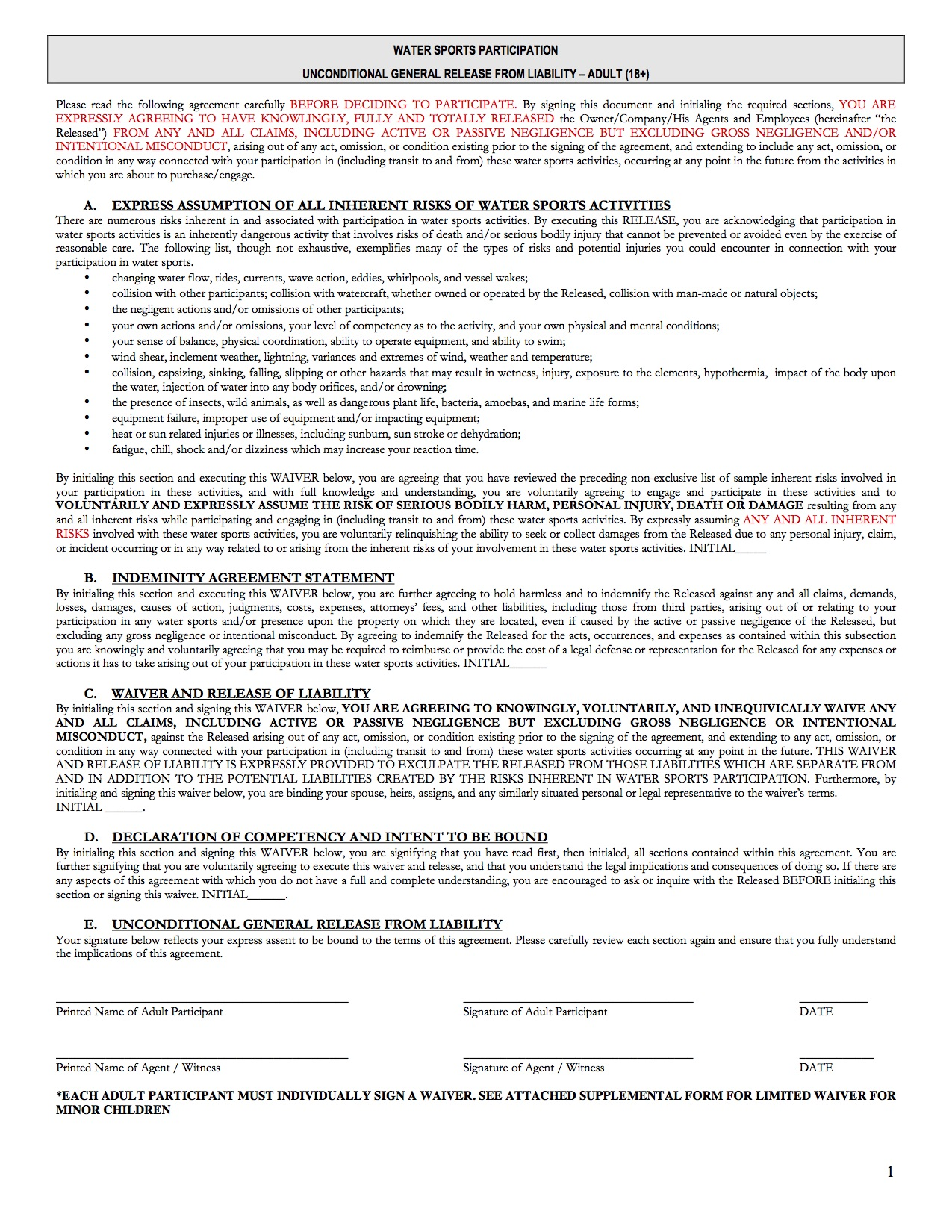 O'Town Watersports Participation Waiver